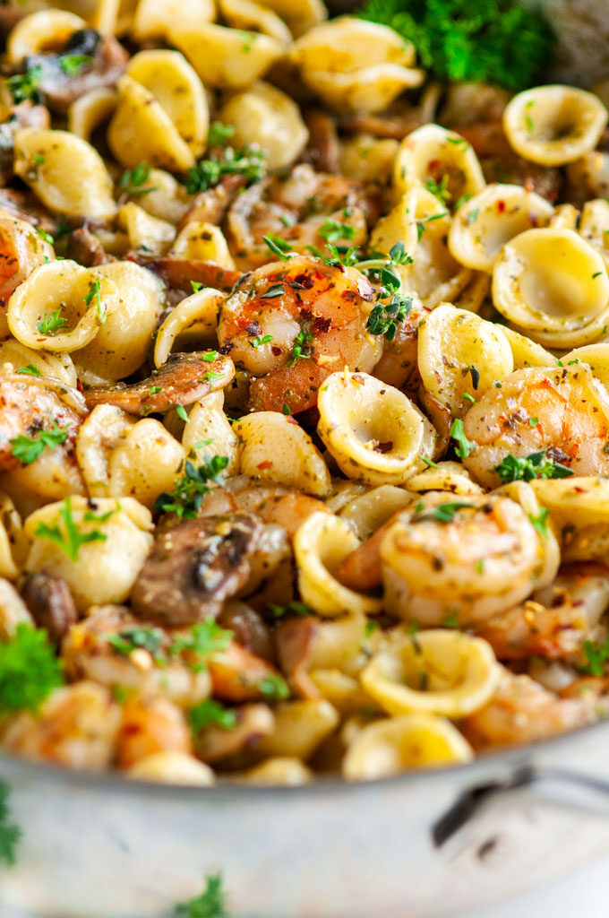 Quick and Easy Pesto Shrimp Pasta in all clad skillet
