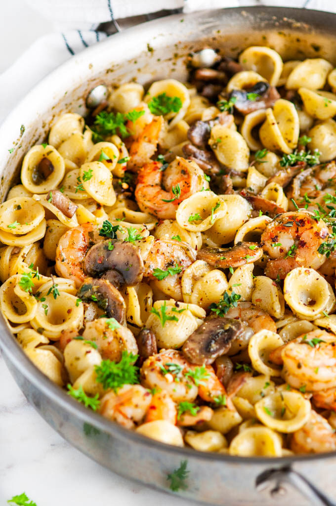 Quick and Easy Pesto Shrimp Pasta in all clad skillet