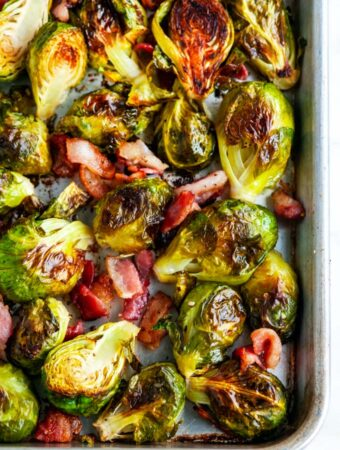 Sheet Pan Bacon Garlic Brussels Sprouts on a sheet pan