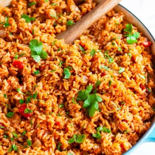 Easy Classic Spanish Rice in blue le creuset broiler