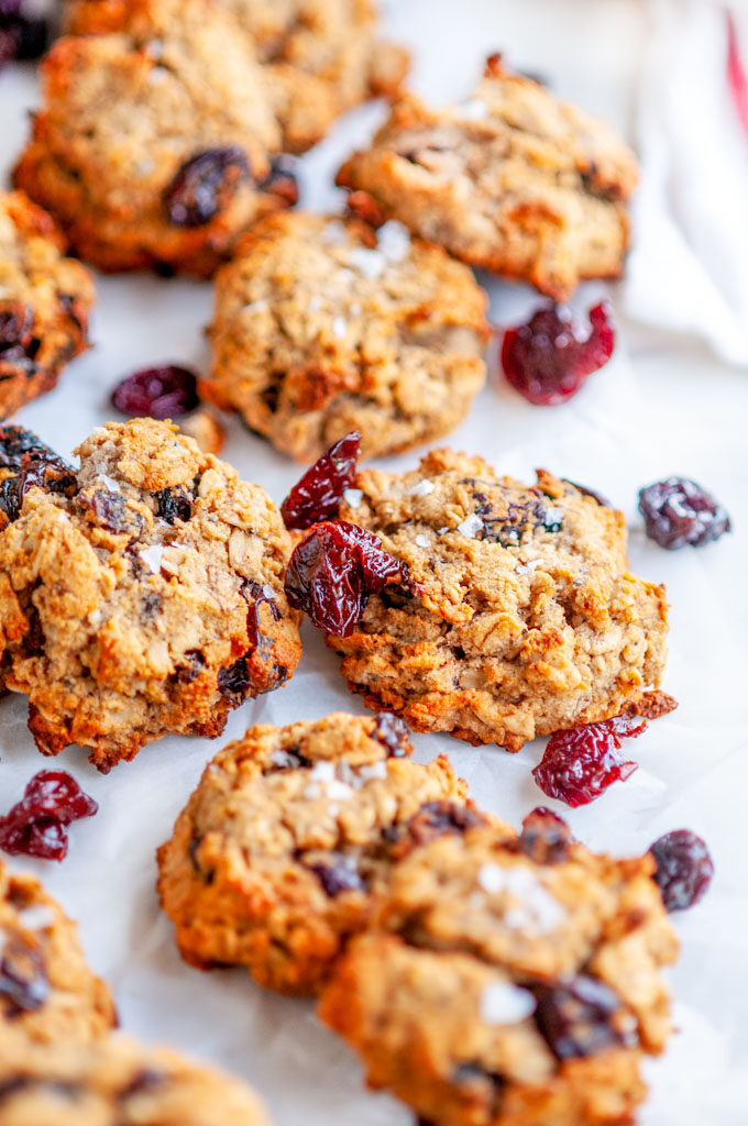 Banana Oatmeal Breakfast Cookies on parchment and white marble