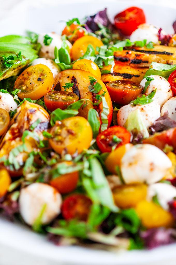 Grilled Peach Caprese Salad close up