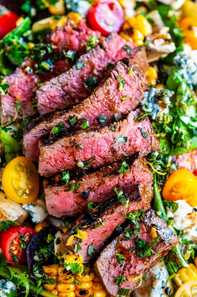 Balsamic Steak Gorgonzola Salad with Grilled Corn close up