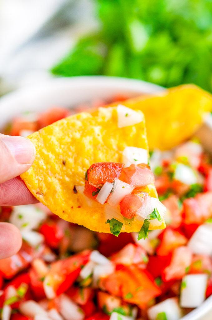 Classic Pico de Gallo salsa close up with hand held chip