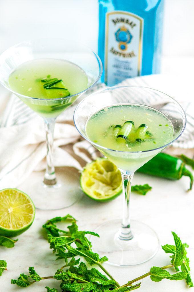 Jalapeño Cucumber Martini with bombay sapphire gin, tea towel on white marble
