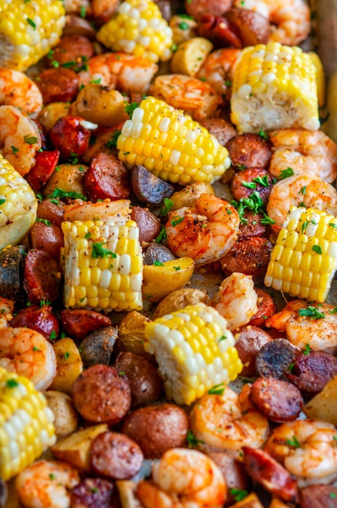 Sheet Pan Shrimp Boil with potatoes, andouille sausage, and corn