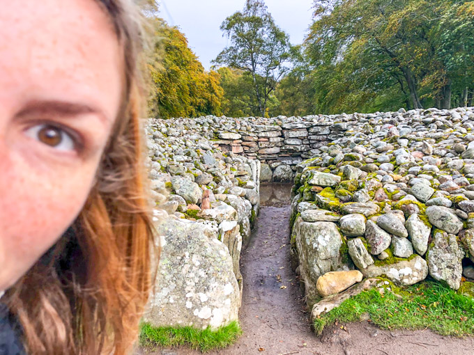 Clava Cairns Scotland and face on the side