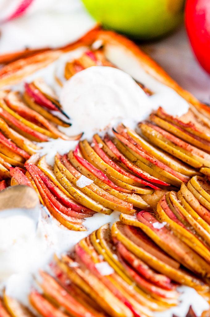 Chai Spice Apple Galette with vanilla ice cream close up