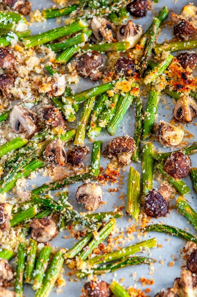 Roasted Panko Asparagus and Mushrooms on sheet pan close up