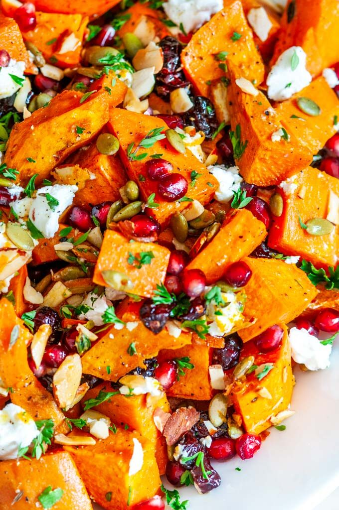 Roasted Sweet Potato Salad in white bowl on marble close up
