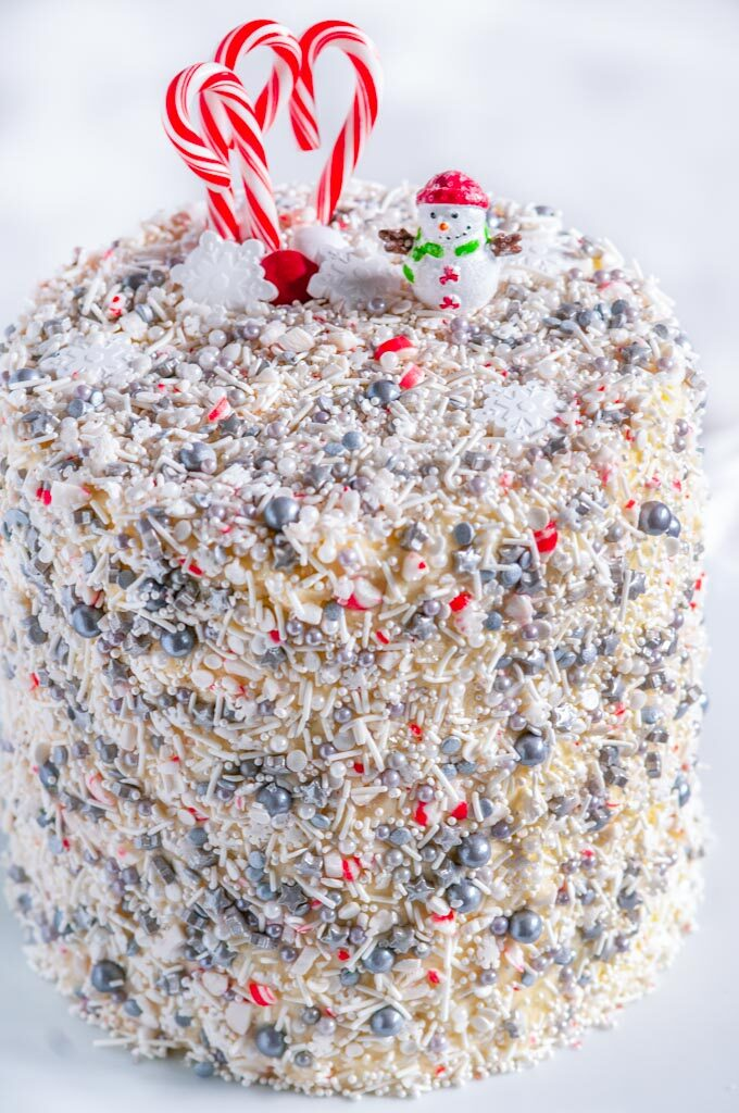Christmas Explosion Cake with Peppermint Buttercream Frosting close up