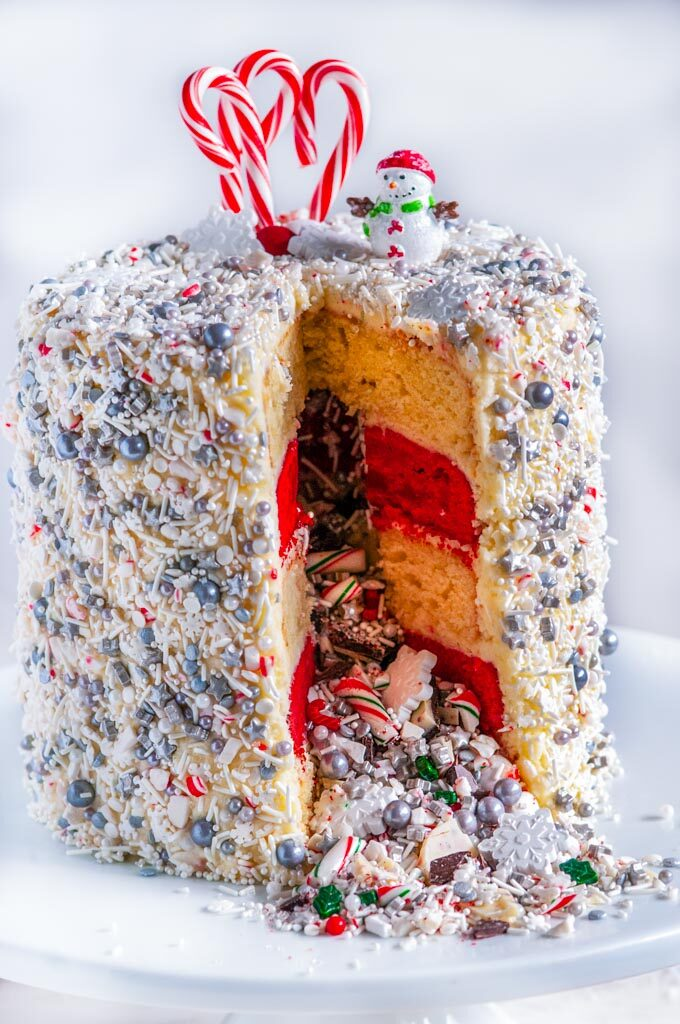 Christmas Explosion Cake with Peppermint Buttercream Frosting sliced