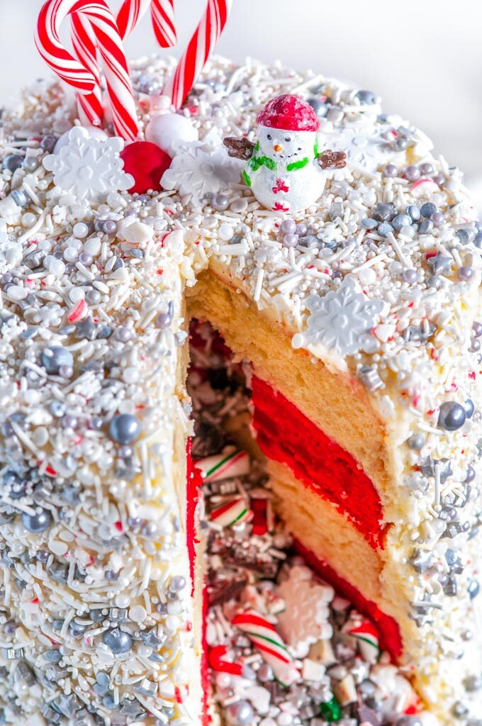 Christmas Explosion Cake with Peppermint Buttercream Frosting sliced close up