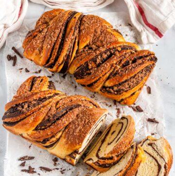 Cinnamon Chocolate Babka (Braided Bread) baked