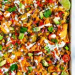 Loaded Vegetarian Sheet Pan Nachos with black beans and corn