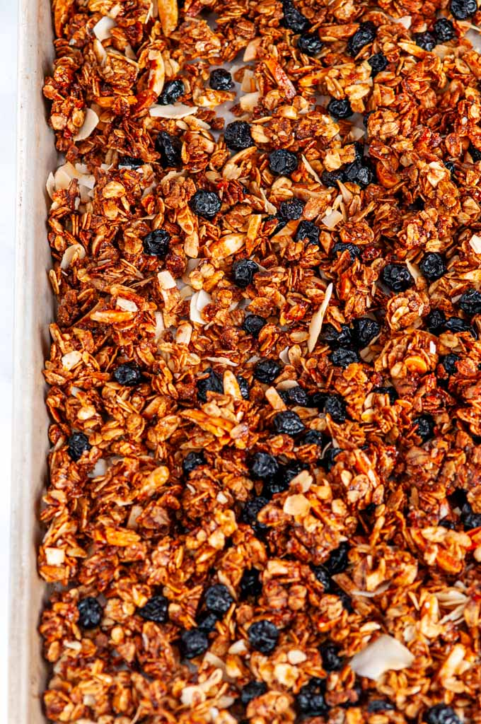Blueberry Almond Coconut Granola on baking sheet