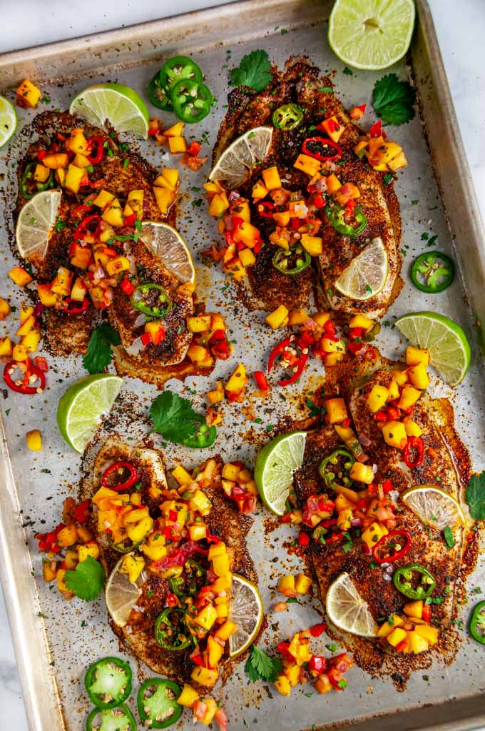 Sheet Pan Chili Lime Tilapia with mango salsa on sheet pan