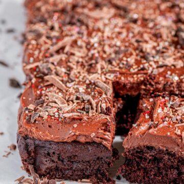 Best Ever Chocolate Sheet Cake with chocolate buttercream frosting sliced side view
