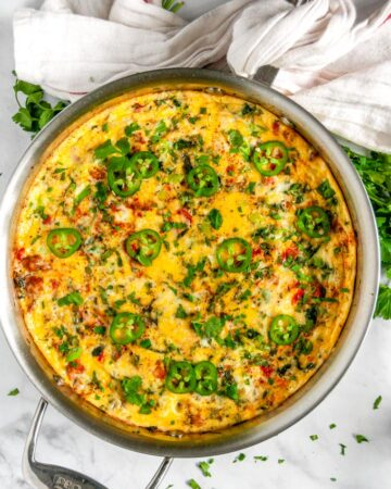 Chorizo Vegetable Frittata in all clad skillet over head