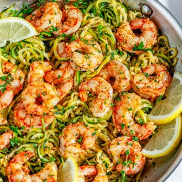 Skillet Shrimp Zucchini Noodles with lemon in silver all clad skillet over head