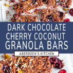 Chocolate Cherry Coconut Granola Bars with blue rectangle and white text overlay