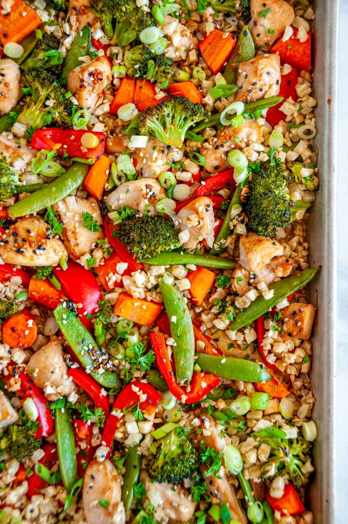 Sheet Pan Sesame Chicken with Veggies over head