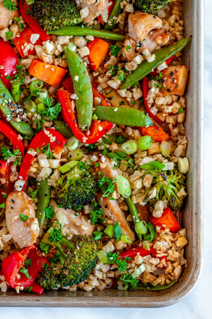 Sheet Pan Sesame Chicken with Veggies over head close up view