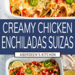 Chicken Enchiladas Suizas two images with blue rectangle and white text overlay