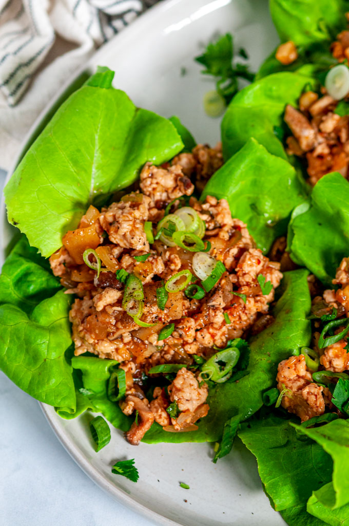 PF Chang's Chicken Lettuce Wraps (Copycat Recipe) on gray plate close up