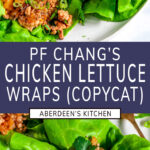 PF Chang's Chicken Lettuce Wraps (Copycat Recipe) two images with purple rectangle and white text title overlay