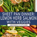 Sheet Pan Lemon Herb Salmon and Veggies two images with purple rectangle and white text overlay