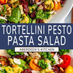 Tortellini Pesto Pasta Salad two images with blue rectangle and white text overlay