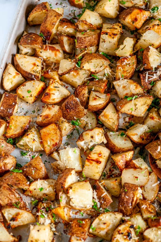 Parmesan Garlic Roasted Potatoes on sheet pan
