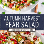 Autumn Harvest Pear Salad two images with blue rectangle and white text overlay