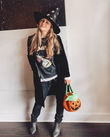 Halloween Birthday Vacay 2020 Outfit with Witch Hat and Pumpkin