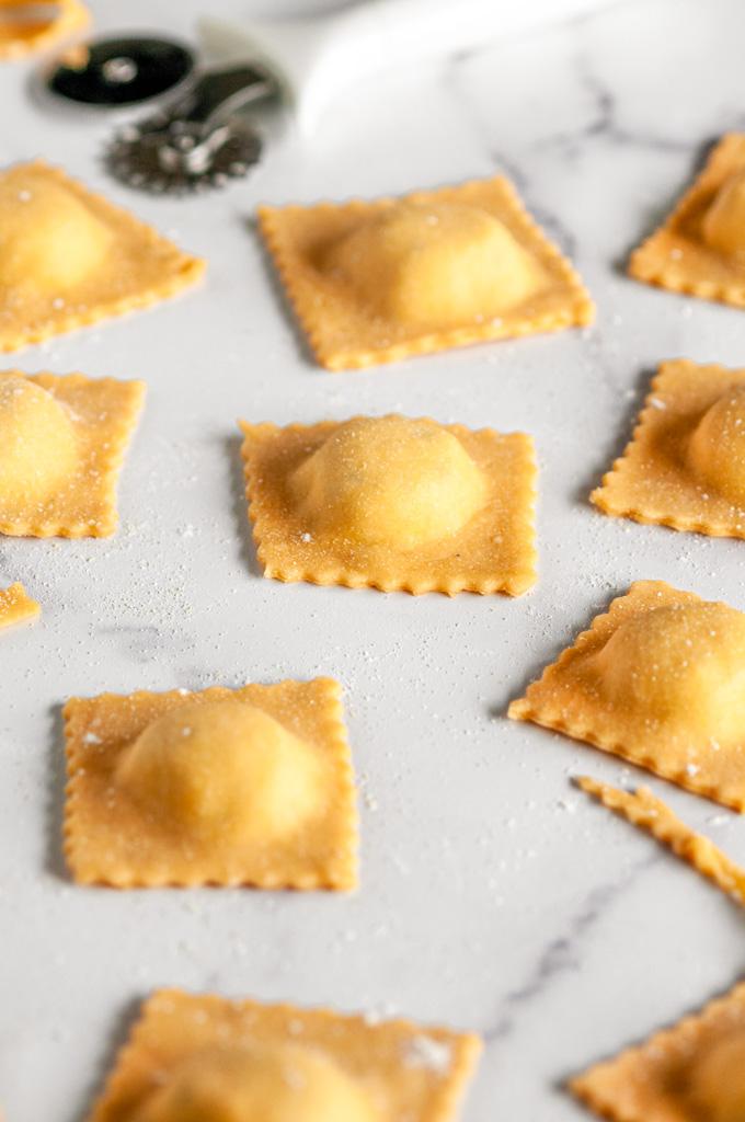 Herbed Three Cheese Homemade Ravioli uncooked