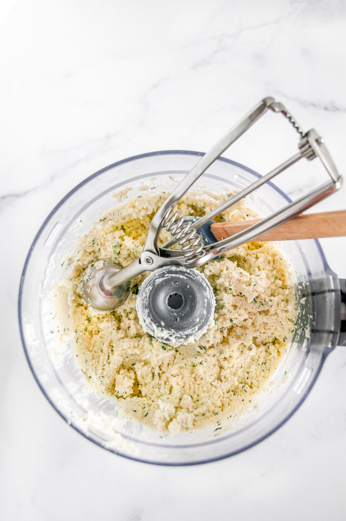 Herbed Three Cheese Homemade Ravioli uncooked filling in food processor