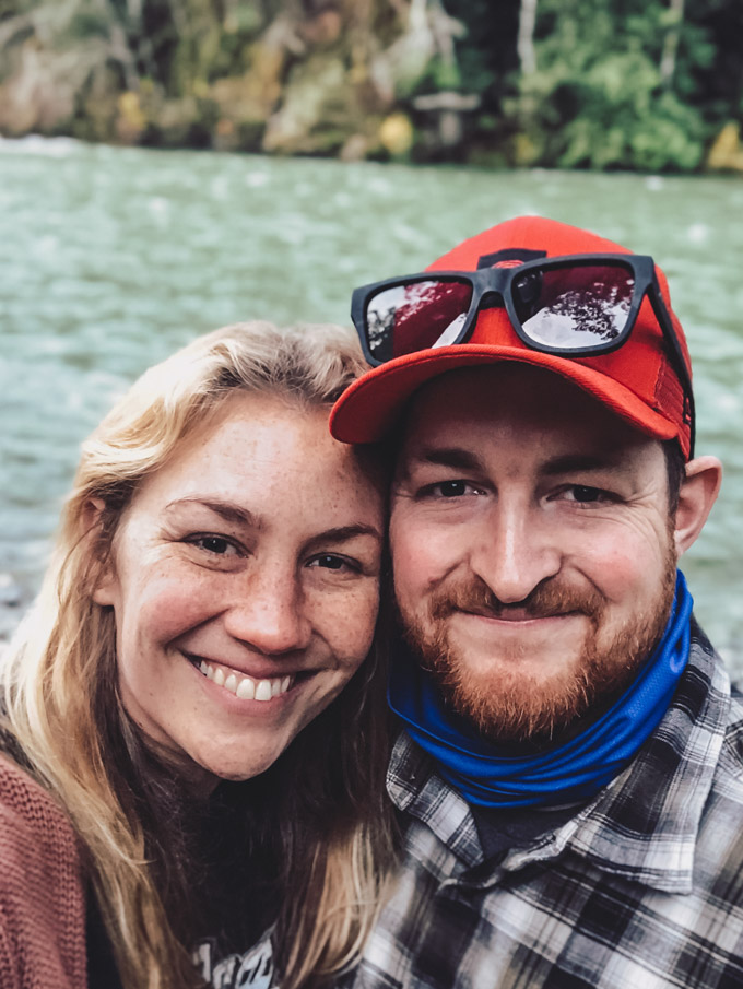 Giving Thanks (Out of the Kitchen) Couple selfie standing by river