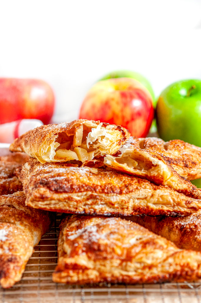 Puff Pastry Apple Turnovers on silver wire rack