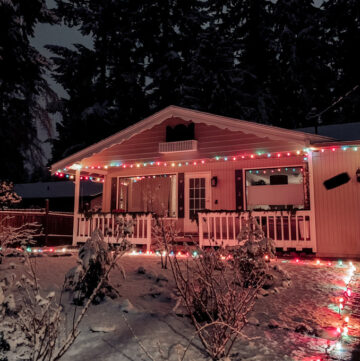 Happy Holidays! (Out of the Kitchen) Bavarian house with Christmas lights and snow on the ground at night