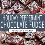 Holiday Chocolate Peppermint Fudge two images with blue rectangle and white text overlay