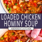 Loaded Chicken Hominy Soup two images with purple rectangle and white text overlay