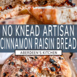 No Knead Cinnamon Raisin Bread two images with blue rectangle and white text overlay