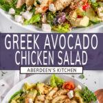 Greek Avocado Chicken Salad two images with purple rectangle and white text overlay