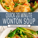 Quick 20 Minute Wonton Soup two images with blue rectangle and white text overlay