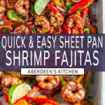 Sheet Pan Shrimp Fajitas two images with purple rectangle and white text overlay