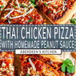 Thai Chicken Pizza two images with blue rectangle and white text overlay
