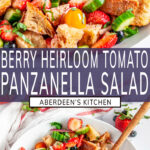 Berry Tomato Panzanella Salad long pin two images with purple rectangle and white text overlay