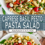 Caprese Pesto Pasta Salad long pin two images with blue rectangle and white text overlay