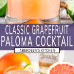 Classic Fresh Grapefruit Paloma long pin two images with purple rectangle and white text overlay